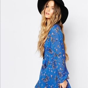 FREE PEOPLE //  Cobale Blue Floral Print Dress